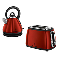 Russell Hobbs Heritage 2 Slice Toaster and 1.8L Kettle, Metallic Red - 19140 + 19150